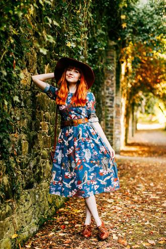 the clothes blogger hat dress jewels belt shoes bag floral dress petrol printed dress midi dress