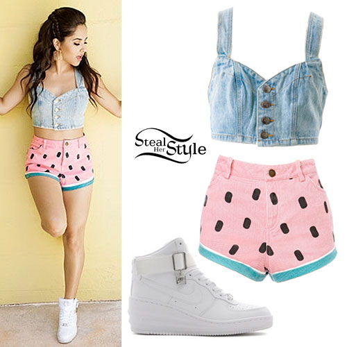 Becky G: Denim Bustier, Watermelon Shorts | Steal Her Style