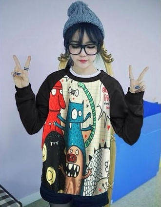 sweater monster winter sweater winter outfits tumblr tumblr girl hat glasses