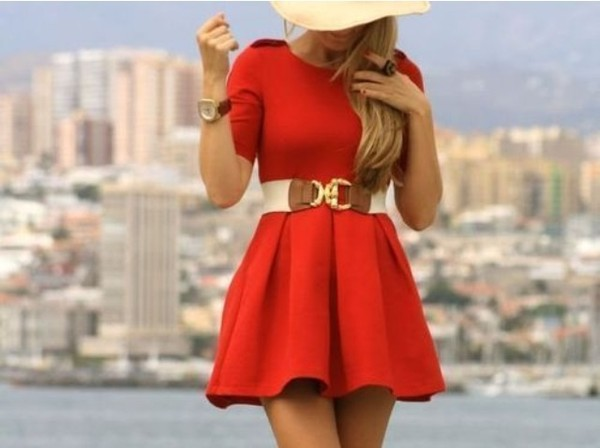 dress skater dress belt red dress