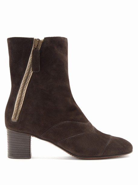 Chloe suede ankle boots ankle boots suede dark grey shoes