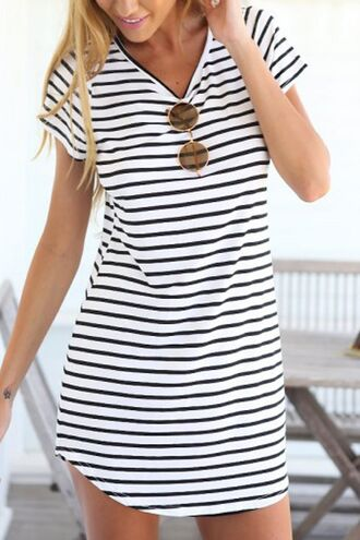 dress striped dress summer dress stripes zaful beach dress top skirt clothes cute casual summer neutral fashion outfit t-shirt t-shirt dress