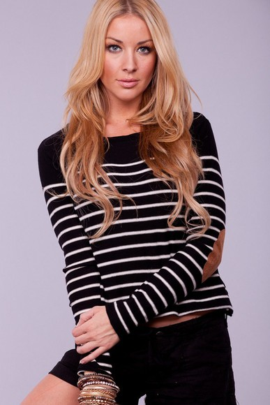elbow patches black and white blouse