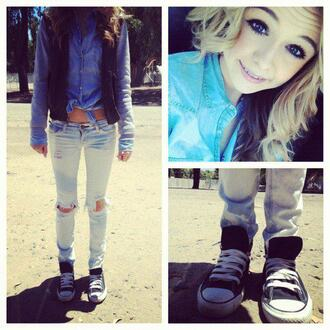 jeans girl jacket blouse acacia brinley beautiful converse outfit bag blue ripped jeams heels shoes skirt dress model eyes pink girly pretty hair nails cute her love stylish style fashion