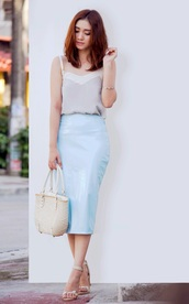 brewing happiness,top,skirt,bag,shoes