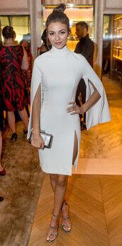dress,sandals,victoria justice,slit dress,high neck,turtleneck dress,white dress