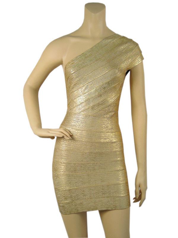 ef0e0532a64 Free shipping Women's one shoulder backless slim bandage dress evening  celebrity party dress golden color ...