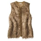 coat,faux fur vest,brown fur vest