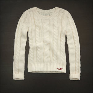 Womens Cream Cable Knit Seagull Crew Sweater Top Jumper XS | eBay
