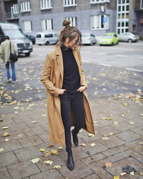 coat tumblr camel camel coat long coat camel long coat sweater black sweater denim jeans black jeans boots black boots