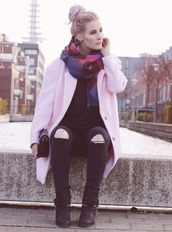 like a riot,blogger,scarf,jeans,clutch,ripped jeans,baby pink,hairstyles,black boots,fall outfits,pink coat,pastel hair