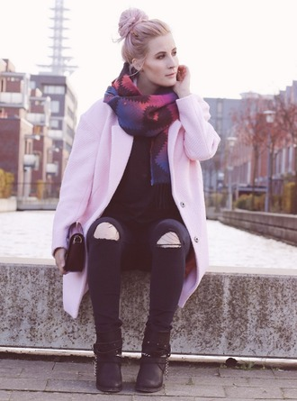 like a riot blogger scarf jeans clutch ripped jeans baby pink hairstyles black boots fall outfits pink coat pastel hair