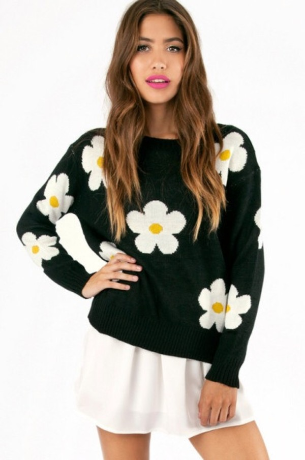 sweater daisy black