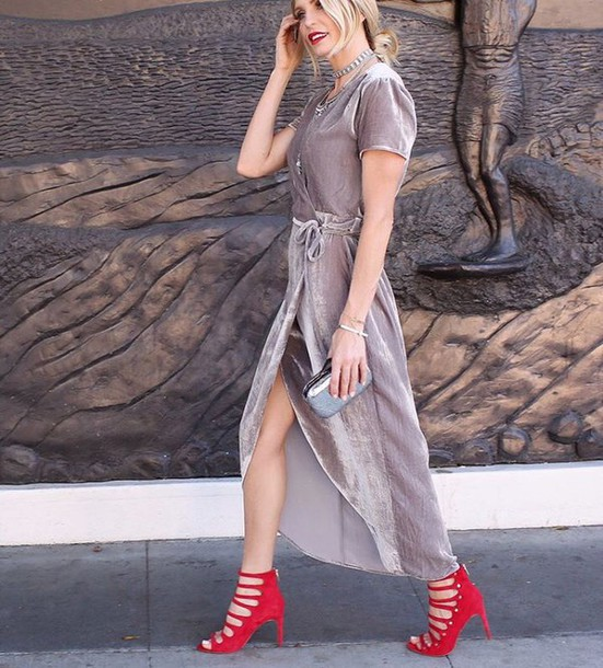 dress tumblr party dress party outfits holiday season slit dress silver dress maxi dress sandals sandal heels high heel sandals red sandals caged sandals asymmetrical dress asymmetrical metallic clutch clutch necklace new year dresses pastel dress velvet dress