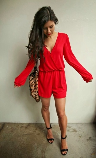dress red jumpsuit long sleeves ramper romper date outfit red dress love evening dress