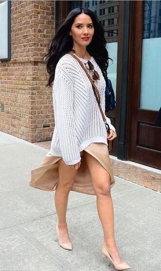 sweater olivia munn pumps slit skirt streetstyle fashion week 2016 ny fashion week 2016