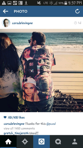 t-shirt cara delevingne mens t-shirt eleven paris instagram beach