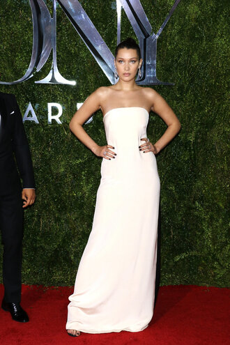 dress gown strapless white dress bella hadid tony awards maxi dress