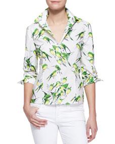 Carolina Herrera Birds Printed Button-Down Blouse - Neiman Marcus