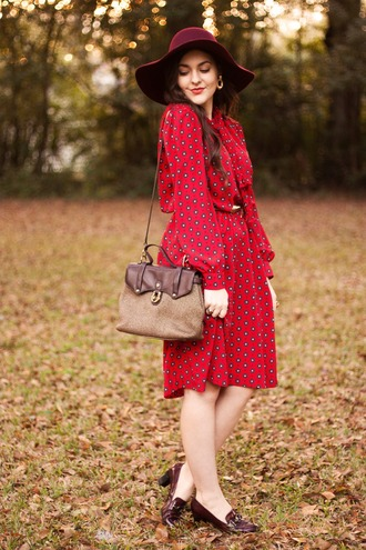 carly maddox blogger floppy hat red dress loafers shoulder bag