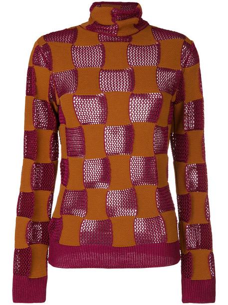 MARNI top patchwork women brown
