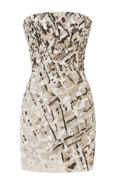 Strapless dress in steel embroidery by j. mendel