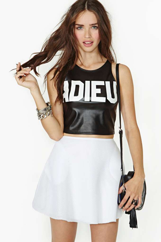 Morning Warrior Adieu Faux Leather Crop Tank in  What's New Clothes at Nasty Gal