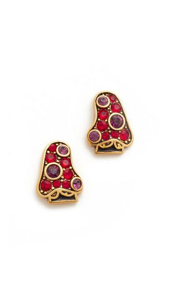 earrings stud earrings red jewels