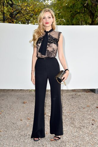 blouse petra nemcova paris fashion week 2016 pants all black everything lace top bow