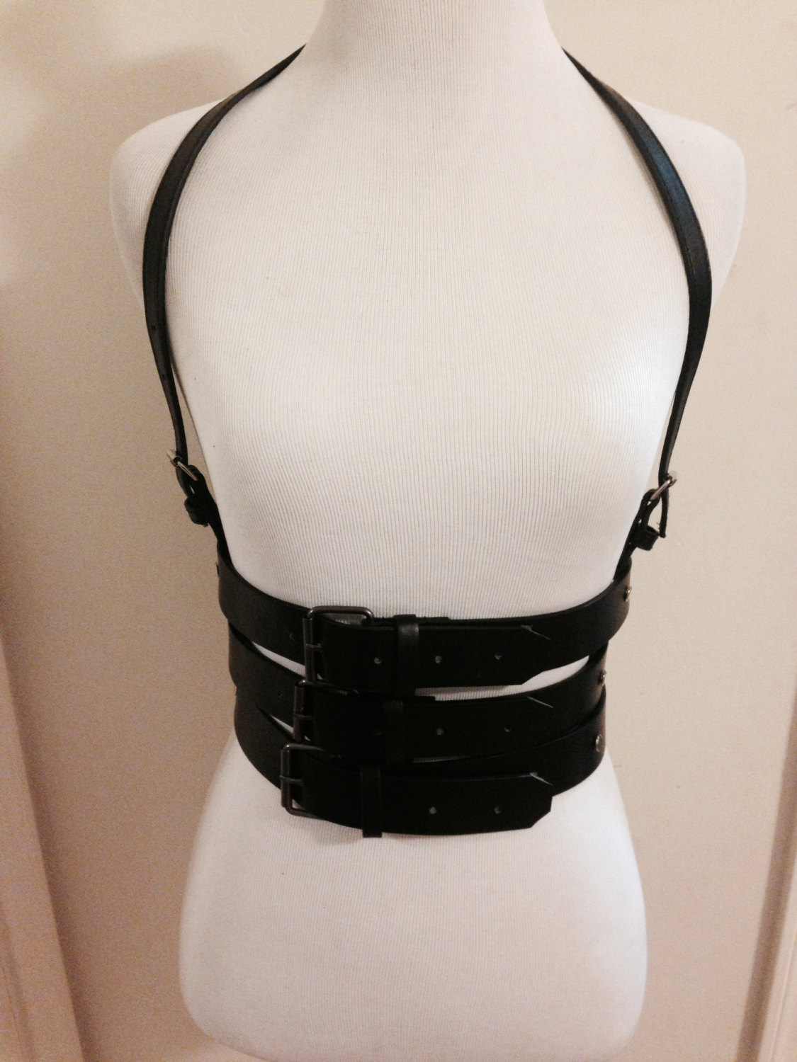 Leather harness underbust 3 row