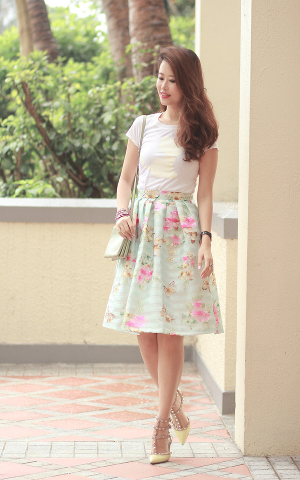 Spring Cruise Butterfly and Flower Midi Skirt - Retro, Indie and ...