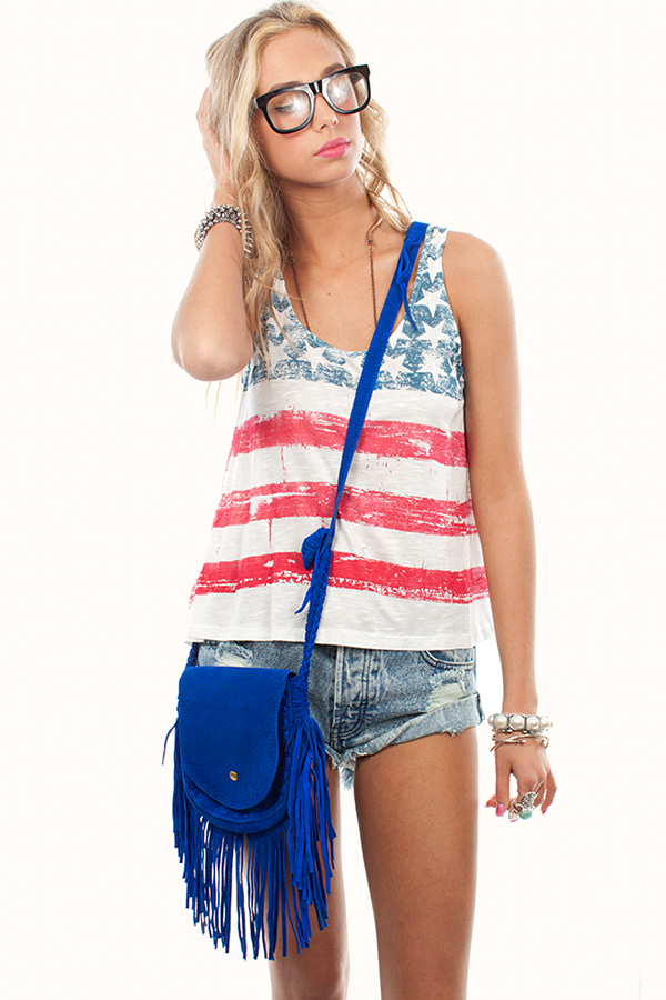 Blue suede leather cross body