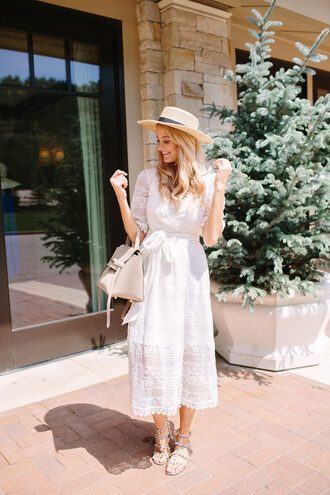 ivory lane blogger shoes bag hat long sleeves lace dress straw hat grey bag flats studded sandals grey sandals midi dress white lace dress sun hat nude bag celine celine bag spring outfits