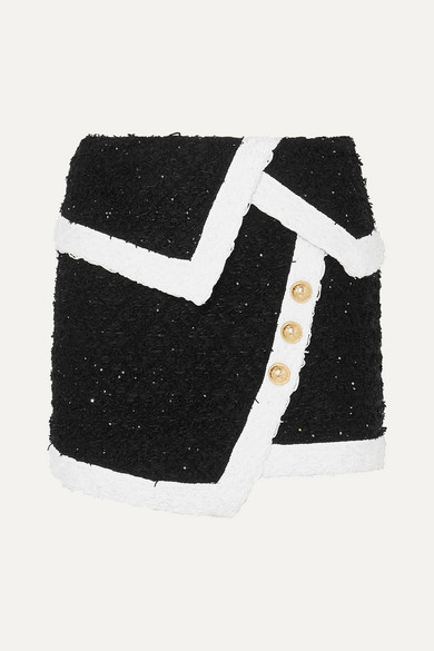 Balmain - Wrap-effect button-embellished metallic tweed mini skirt