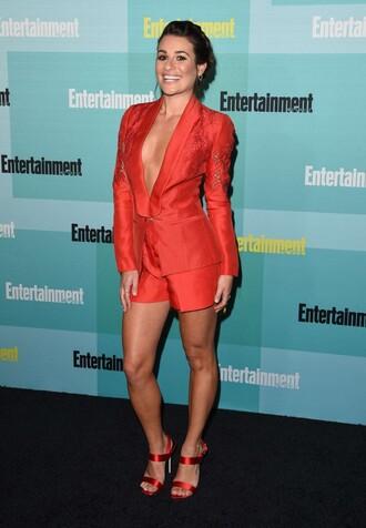 shorts red lea michele comic con jacket blazer sandals