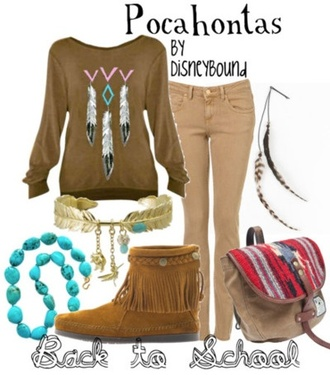 sweater jacket disney disney clothes disney sweater pants skinny pants brown combat boots necklace light blue pocahontas pocahontas fold over boots creme shoes indie indian boots indian bag cute jewels