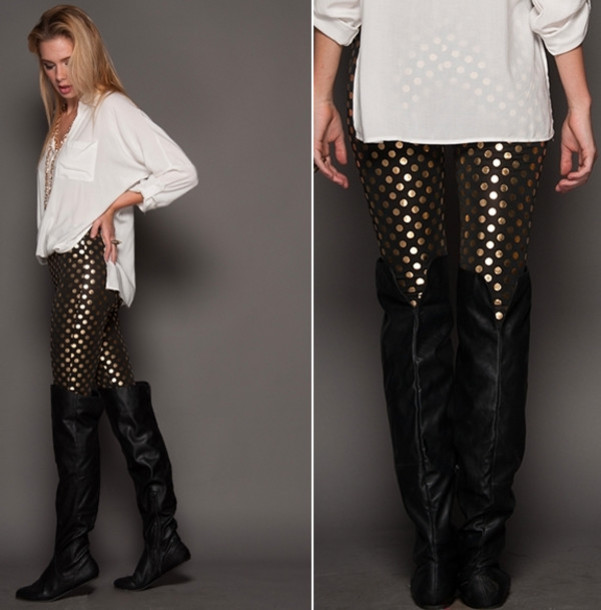 pants gold leggings