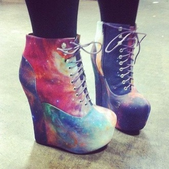 shoes heels wedges galaxy print galaxy shoes