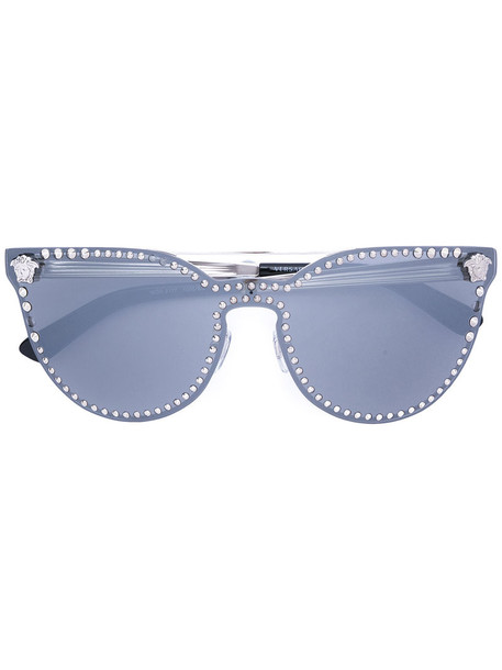 VERSACE studded metal women sunglasses grey metallic