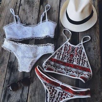 swimwear tropical boho sea oceaan water one piece swimsuit tropical swimwear boho dress print bikini bikini bottoms white