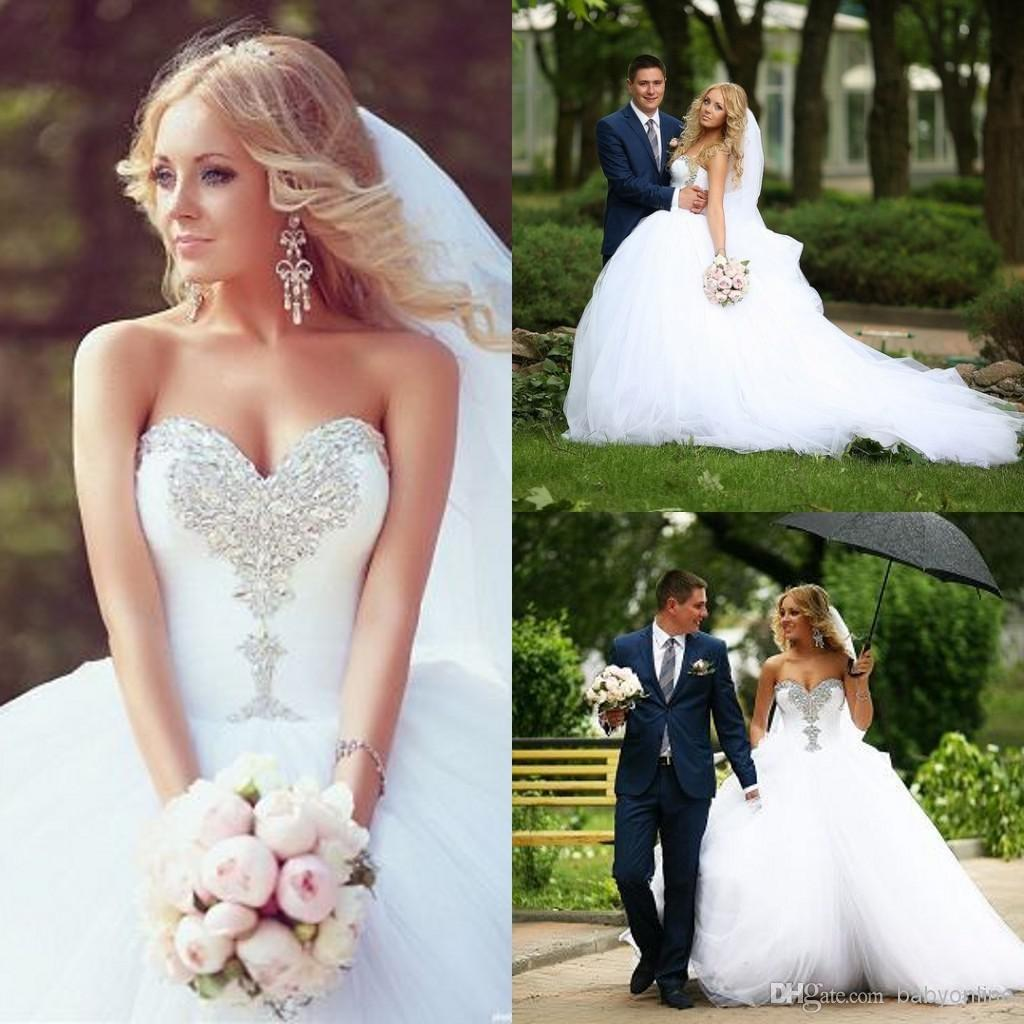 Discount Vintage 2015 Wedding Dresses Winter Plus Size Bridal Gowns Applique Beads Ball Gown Sweetheart Neck Court Train Tulle Cheap Wedding Gowns 20 Online with $157.18/Piece | DHgate