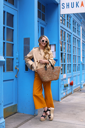 bag coat trench coat short trench basket weave bag pants yellow pants sandals espadrilles platform sandals platform espadrilles black sandals sunglasses