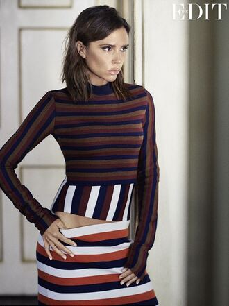 dress stripes victoria beckham editorial long sleeves long sleeve dress fall dress