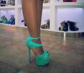 shoes,mint,high heels,heels,green,blue