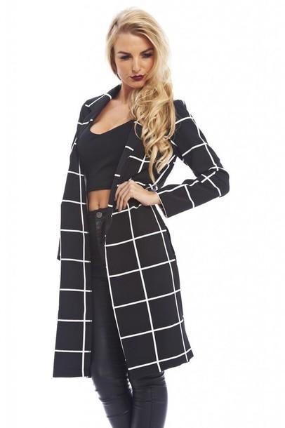 White and black checkered coat