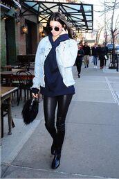 kendall jenner,model off-duty,streetstyle,hoodie,denim jacket,sunglasses,blue sweater,leather pants,black bag,black boots