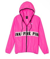 coat,jacket,pink,pink by victorias secret,vs pink anorak,windbreaker,victoria's secret,victoria secret pink jacket