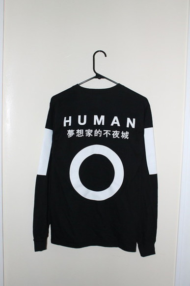 hoodie top humanity black and white jumper black human japanese japanese fashion fashion black,white,t shirt,asian,crop top asian fashion white korean fashion korean style harajuku fashion harajuku