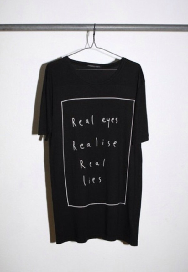 t-shirt black black t-shirt message tshirt real eyes