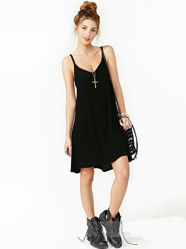 Knee Length V Neck Pure Street Dresses : KissChic.com
